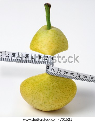 Pear anorectic. Pear jammed by measuring tape - surrealist montage.