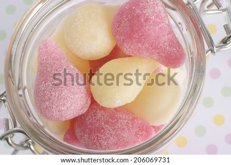 Pear Drops a classic British boiled sweet traditionally in pink and yellow