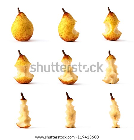 Pear from whole to eaten frame set isolated on white