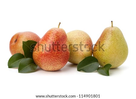 Pear fruits isolated on white background - stock photo