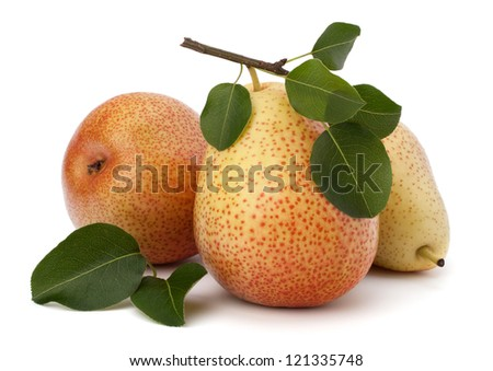 Pear fruits isolated on white background