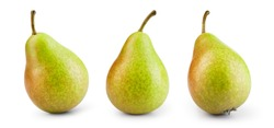 Pear isolated. Green pear on white background. Pear with clipping path. Set of pears.
