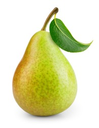 Pear isolated. One green pear fruit with leaf on white background. Green pear. With clipping path. Full depth of field.