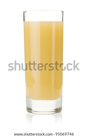 Pear juice glass. Isolated on white background