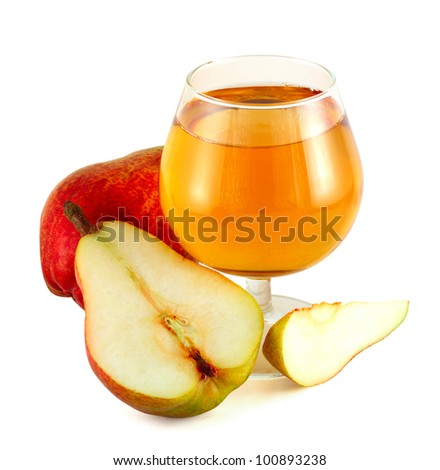 Pear juice with cutted colorful pears isolated on white