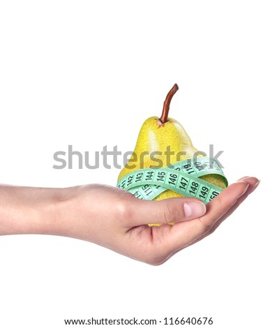 Pear measured  weight loss concept isolated on a white background - stock photo