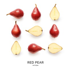 Pear on the white background.. Flat lay. Food concept.