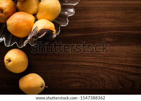 Pear - Pear and pear platter on wooden table #1547388362