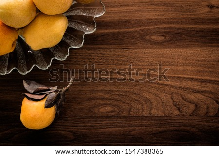 Pear - Pear and pear platter on wooden table #1547388365