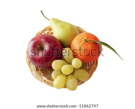 Pear, tangerine, grape and apple in the basket. Fresh fruit on a platter - Vitamin charge! - stock photo