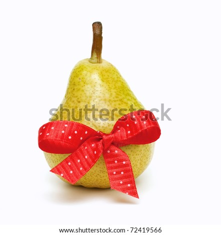 pear tied with a red bow