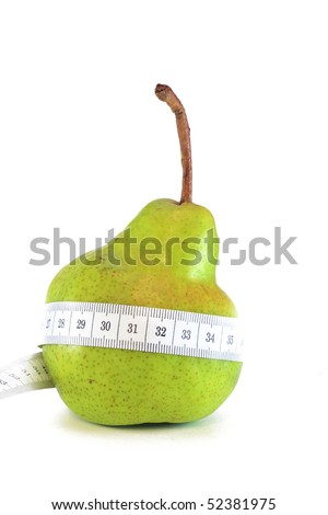 Pear with belt made from measuring tape