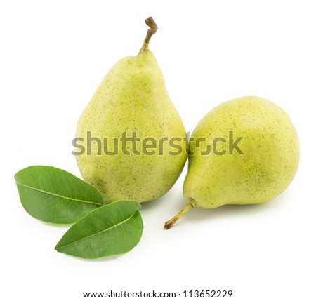 pear with green leaves