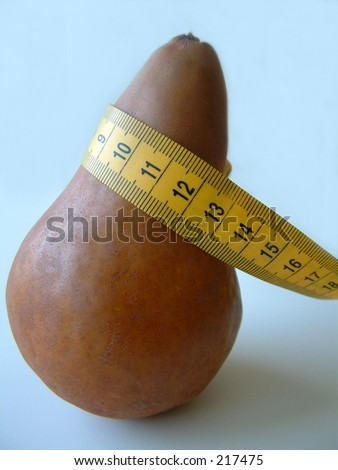 Pear with measuring tape.