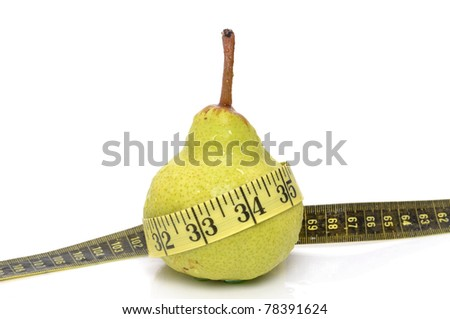 pear with tape measure on white background