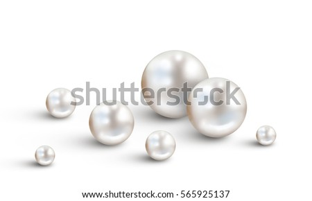 Pearl background with small and big white pearls isolated on white background ストックフォト ©
