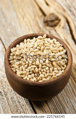 pearl barley on wood #221766145