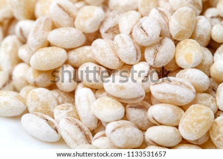 Pearl barley, or pearled barley, is barley that has been processed to remove its hull and bran.   #1133531657