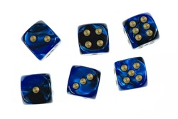 pearl blue dices isolated on white