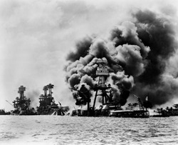 Pearl Harbor: three stricken U.S. battleships. Left to right: U.S.S. West Virginia, severely damaged; U.S.S. Tennessee, damaged; and U.S.S. Arizona, sunk, December 7, 1941