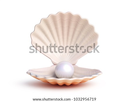 Pearl inside seashell 3d rendering ストックフォト ©