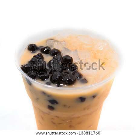 Pearl milk tea isolated on white background