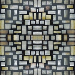 pearl mosaic wall panel, abstract black and white rectangles block pattern