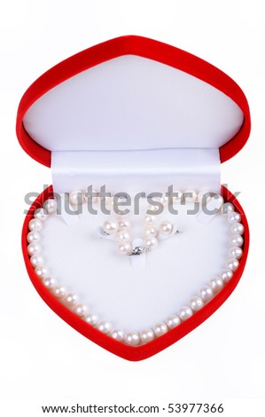 Pearl necklace in gift box isolated on white