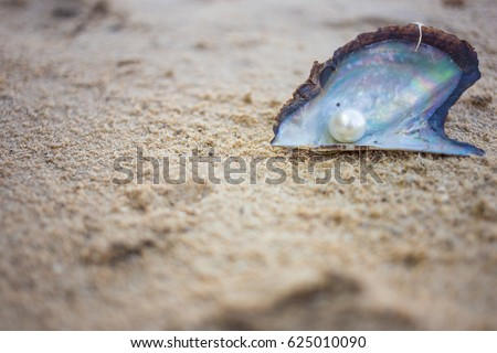 Pearl on sand beach background, soft focus