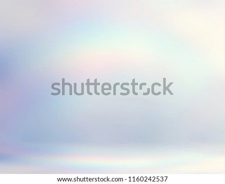 Pearl room 3d background. Light abstract studio. Brilliance iridescent ombre pattern. Shimmer wall and floor defocused illustration. Wonderful empty interior. Pale rainbow gleaming on white template.
