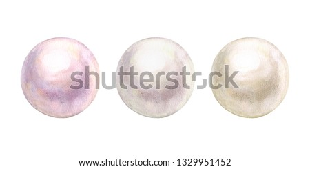 Pearl set shiny natural sea nacreous isolated on white background. Watercolor hand drawn realistic iridescent pale colours pearls illustration. Watercolour beautiful 3d orbs gems. Jewelry gemstone