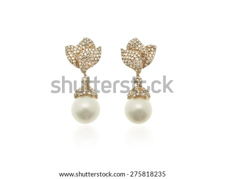 Pearls and diamonds earrings in pink gold isolated on white background