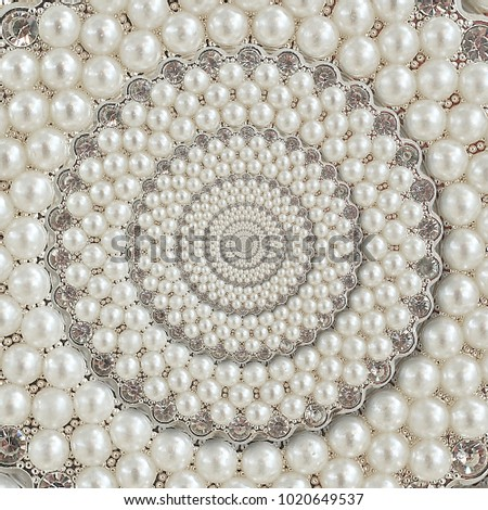 Pearls and diamonds jewels abstract round circle background pattern fractal. Pearls background, repetitive pattern. Abstract pearl background round pattern decorative element. Pearl decoration design