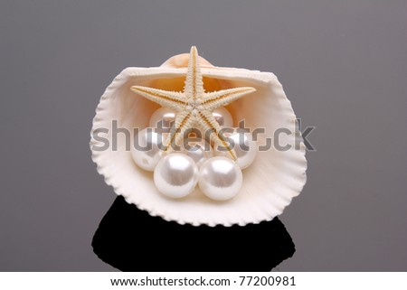 Pearls in a shell. pearl and shells  .