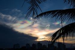 Pearly sunset natural phenomena in Da Nanag, Vietnam