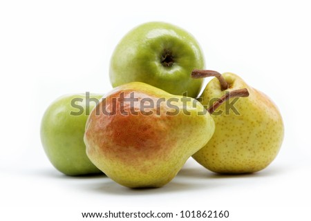 pears and apple isolated on white background