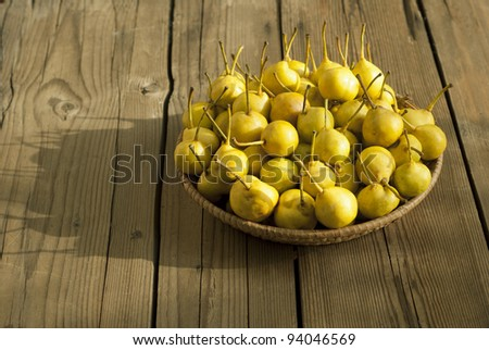 pears in basket on wooden