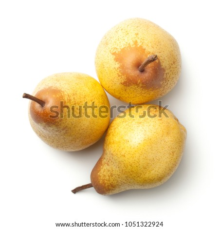 Pears isolated on white background. Rocha pear. Top view Foto stock ©