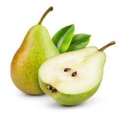 Pears isolated. One and a half green pear fruit with leaf on white background. With clipping path. Full depth of field.