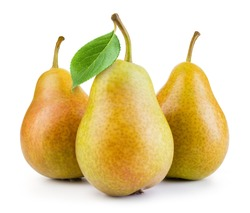 Pears isolated. Pears with leaf on white background. Full depth of field.