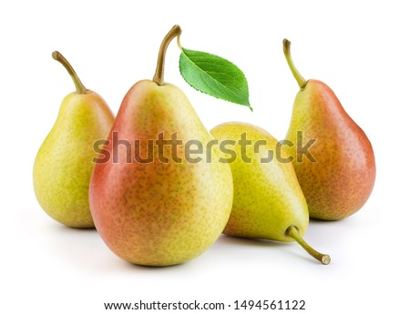 Pears isolated. Pears with leaf on white background. Full depth of field.  #1494561122