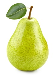 Pears with leaf on white background. One fresh pears clipping path. Quality photo for your project.