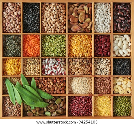 Peas, beans and lentils in wooden box Stock photo ©
