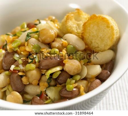 Peas, beans, lentils and chick peas soup