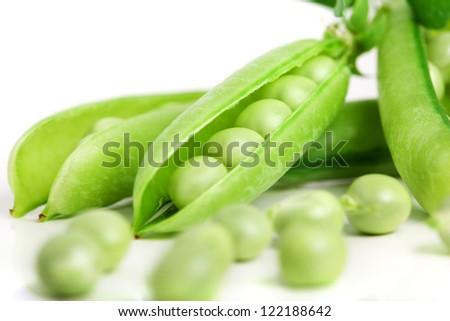 Peas on a white background