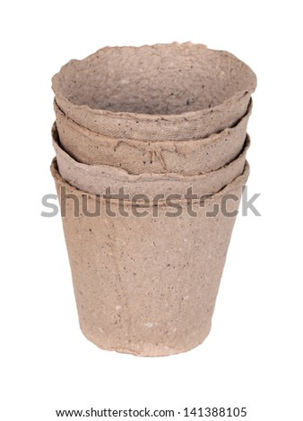 Peat pot for growing seedlings, isolated on white background