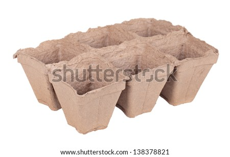 Peat pots for growing seedlings, isolated on white background