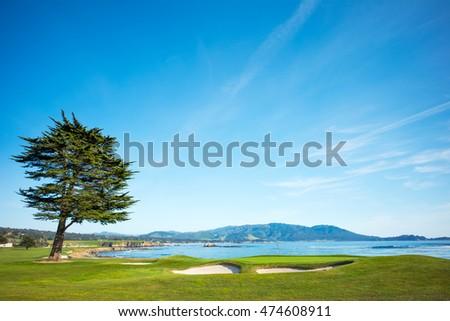 Pebble Beach Golf Course 18th Hole Green #474608911