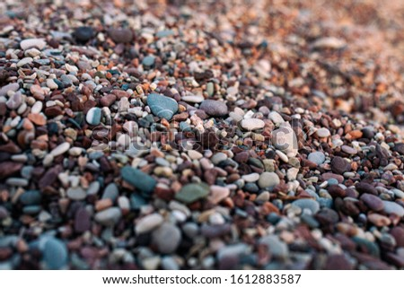 Pebble beach in the sunset light. beautiful multi-colored pebbles leaving in bokeh