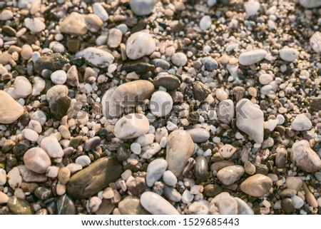 pebble beach with small multi-colored wet pebbles near the sea